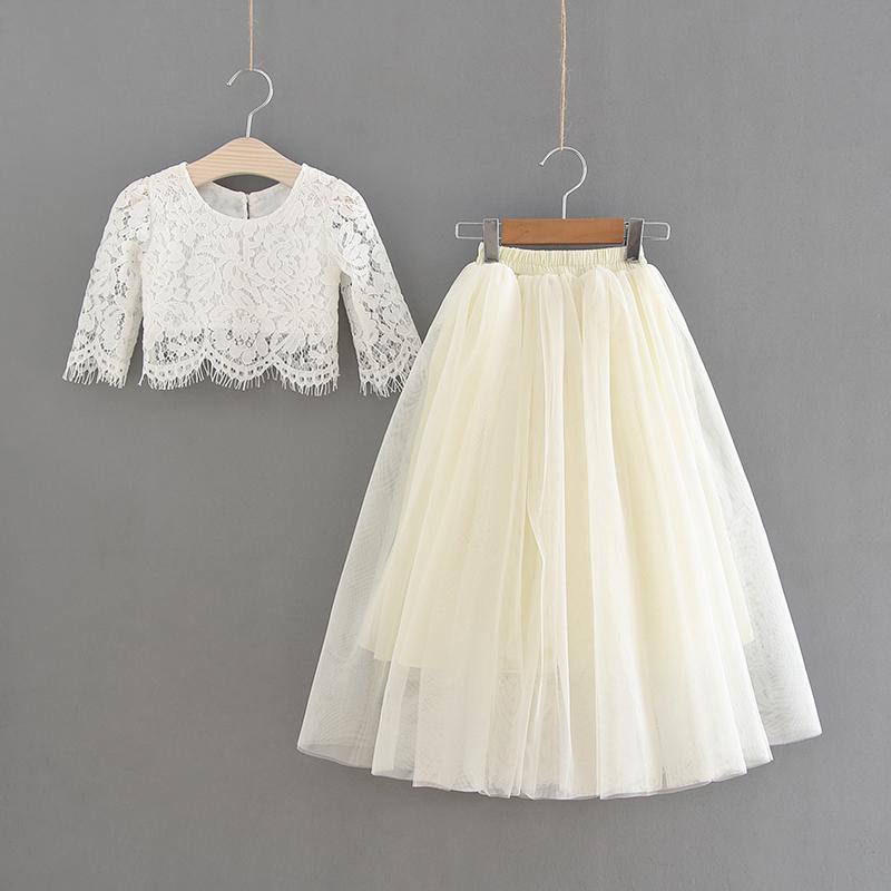 Girls two piece party outfit in ivory