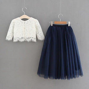 Girls party out fit white lace top and navy skirt