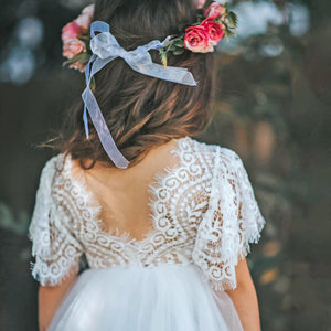 Back of Bohemian Flutter Dress - Ice White