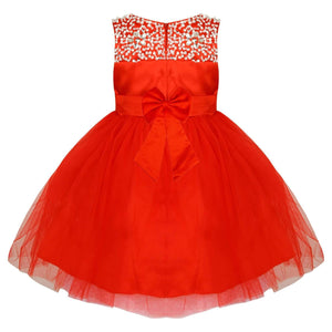 Girls red satin dress with sparkles