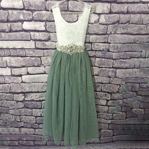Bohemian Classic Dress - Sage Green on hanger