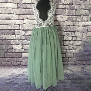 back of Bohemian Classic Dress - Sage Green