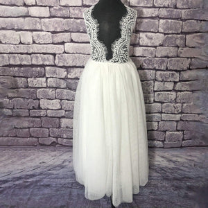 Back of Bohemian Classic Dress - White