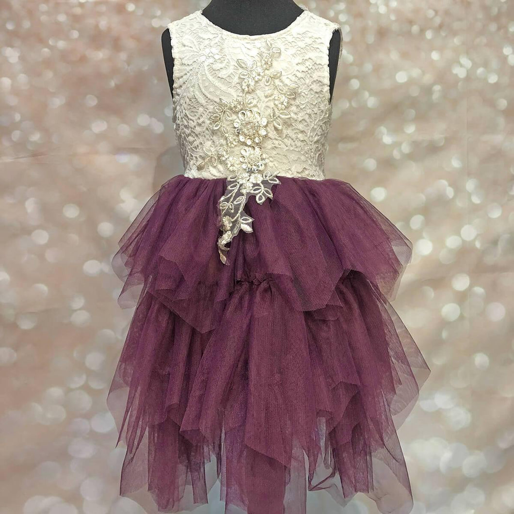 Boho Dreams Dress - Purple Plum Applique