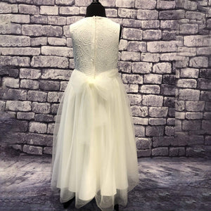 ivory coloured party dress on mannequin