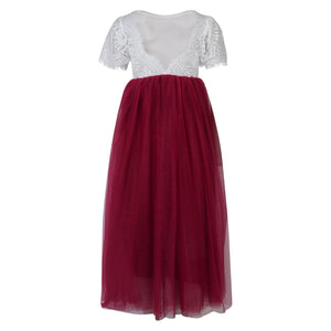 Bohemian Flutter Dress - Burgundy