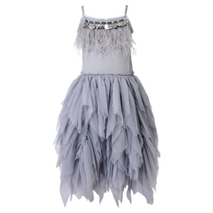 Girls dress with Feathers and Frills Dress in Silver Grey
