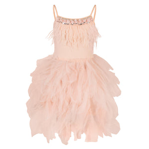 Feathers and Frills Dress - Blush