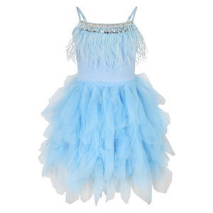 Girls Feathers and Frills Dress in sky blue
