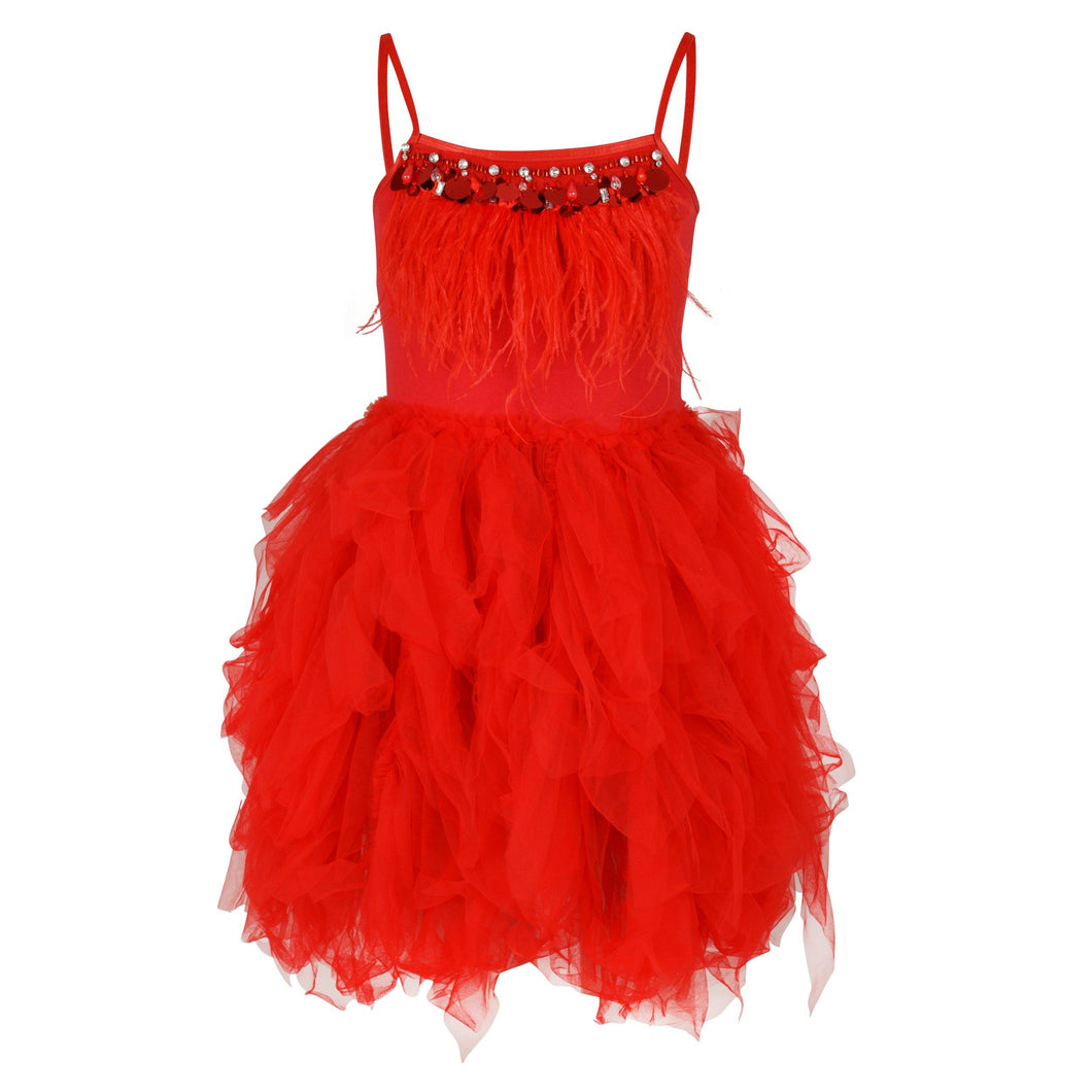 Girls Feathers and Frills Dress in red