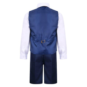 Rear of boys navy blue suit