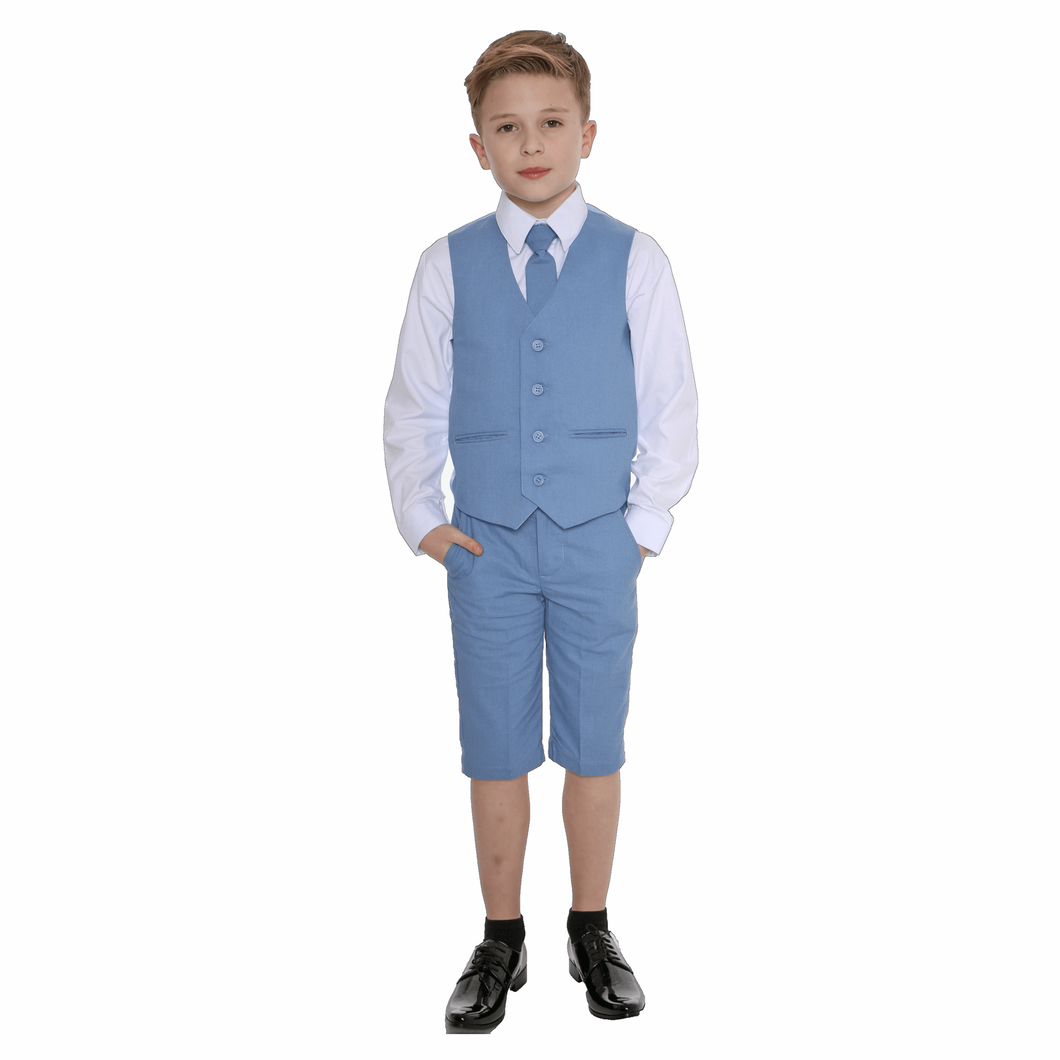 Boy in blue four piece short suit from UK Flower Girl Boutique