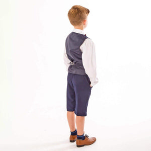 Rear of boys navy blue shorts suit