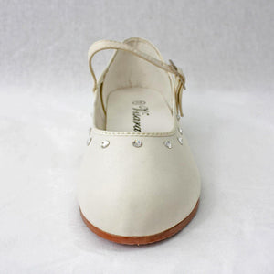 Girls white satin party shoes with diamontes