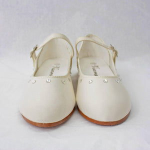 Girls white satin party shoes
