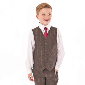 Boy wearing brown check waistcoat and trousers