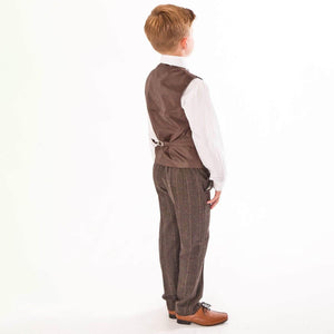 boy wearing a Brown Tweed Check 5 Piece suit