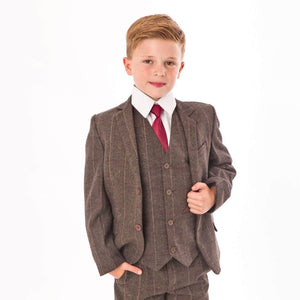 boy modelling a Brown Tweed Check 5 Piece suit