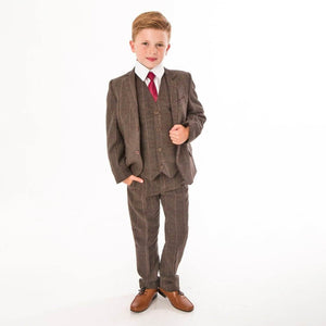 Boy Wearing Brown Tweed Check 5 Piece Suit
