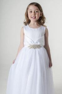girls white party dress with jewelled waistband