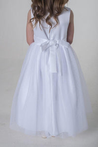 Girls in white party dress