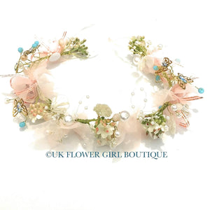 Pretty gold and pink headband with butterflies