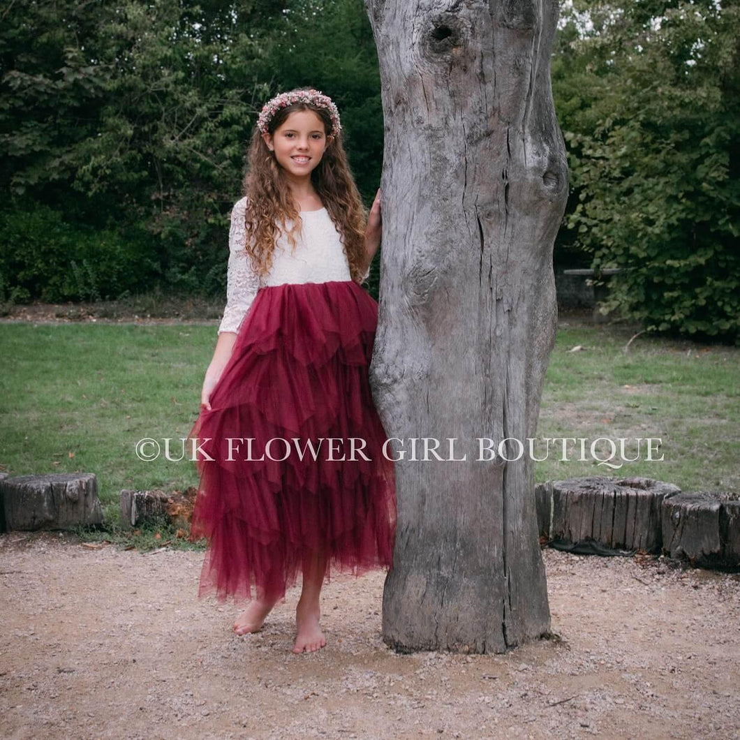 Girl in Burgundy Boho Dress