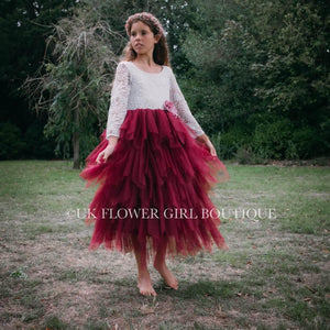 Flower Girl in Burgundy Dress