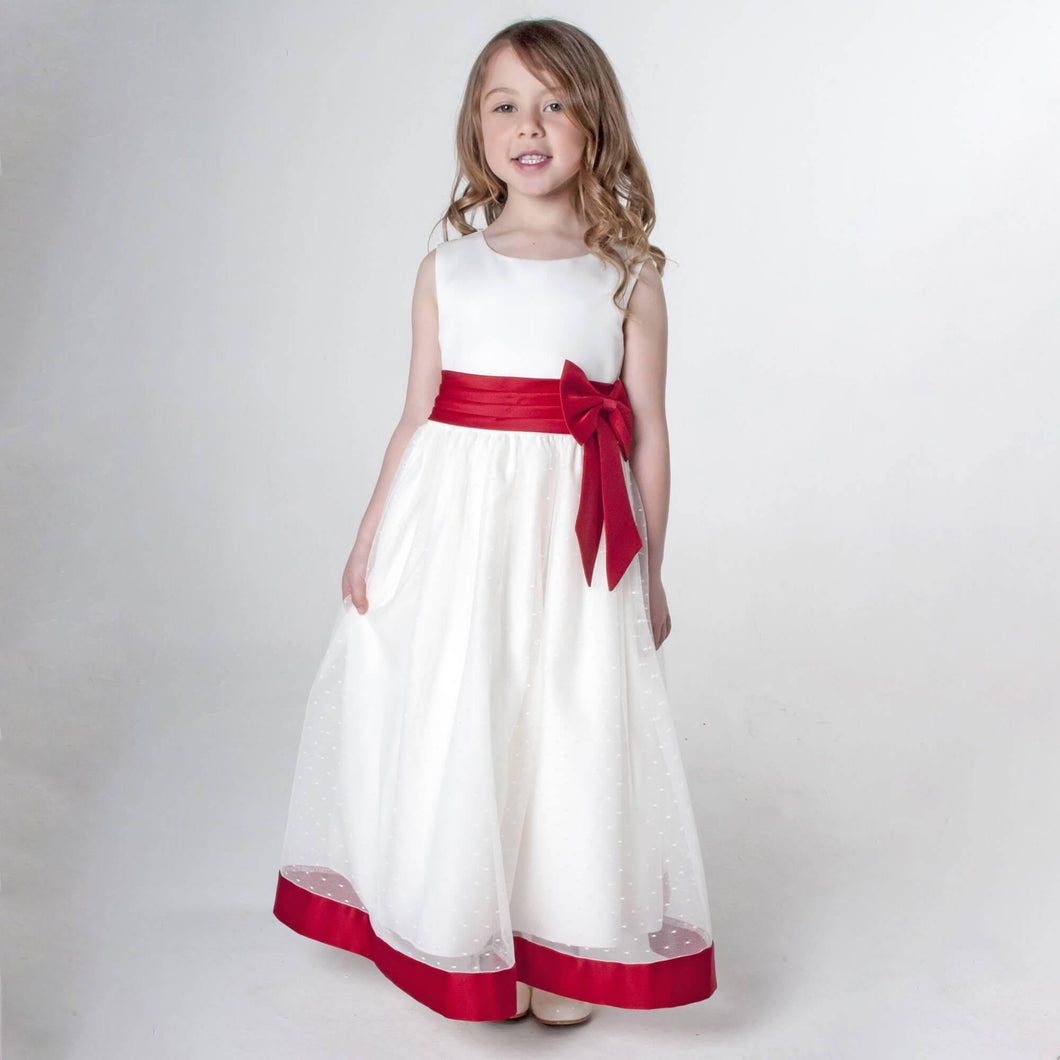 White flower girl dress with red trim