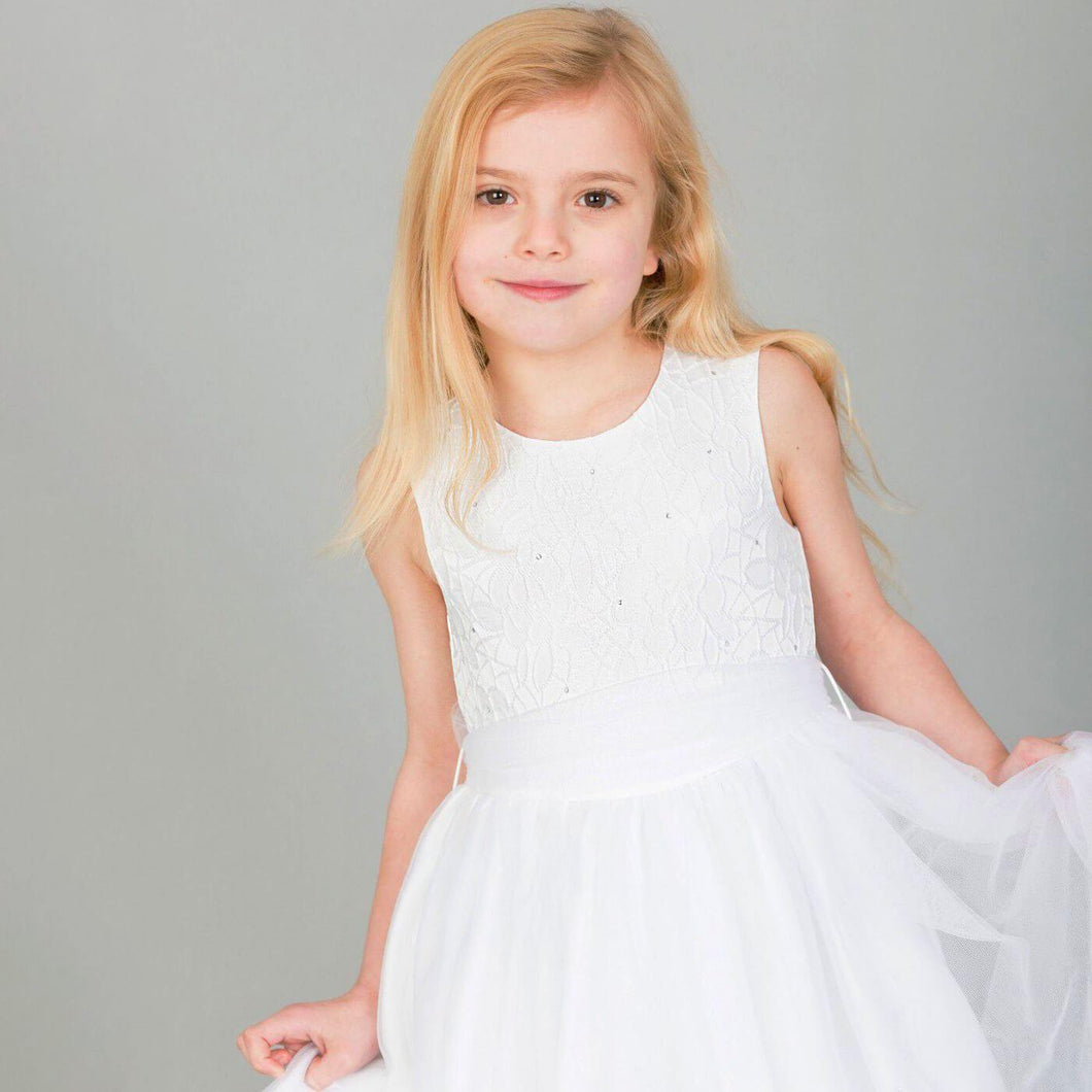 young girl wearing Isabella Flower Dress in White