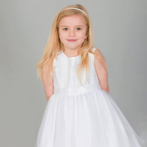 Girl wearing white Tiffany Flower Girl party dress