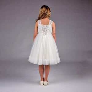 Back of Ivory Phoebe - Ribbons and Lace Dress