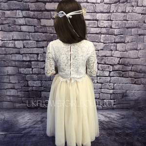 Back of ivory party outfit