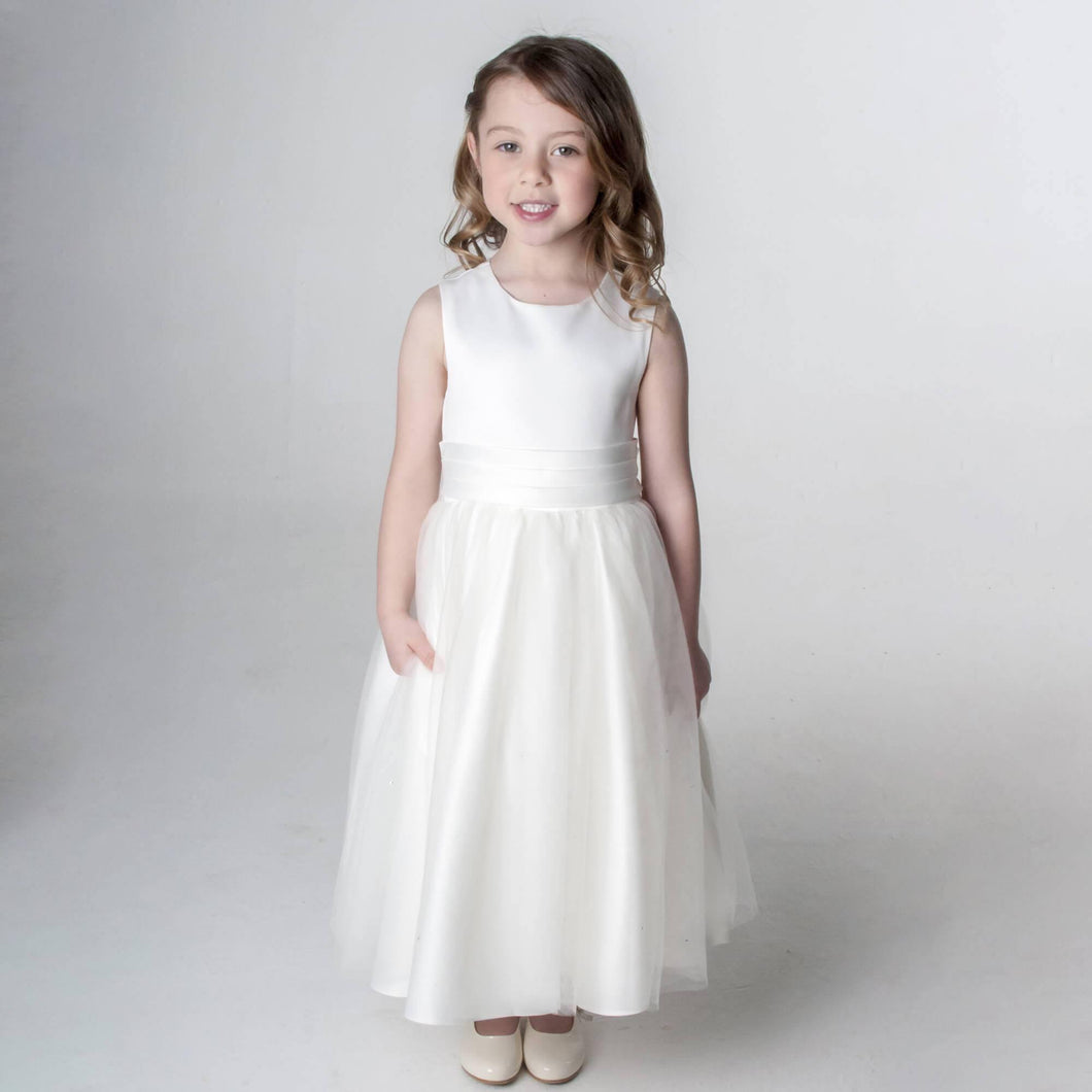 Betsy white flower girl dress