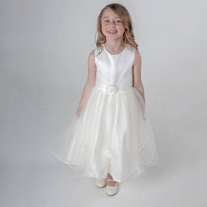 girl wearing Lilly Dress in Ivory