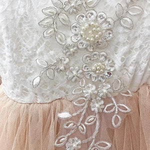 Boho Dreams Dress - Apricot Champagne Applique - UK Flower Girl Boutique