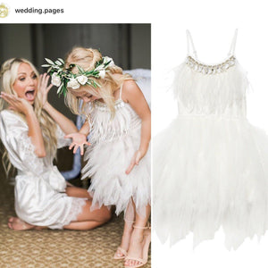 Feathers and Frills Dress - White