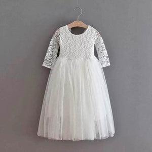 Girls lace party dress in white