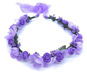 Purple and Lilac Rosettes Head Garland