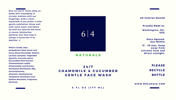 24/7 Chamomile & Cucumber Gentle Face Wash