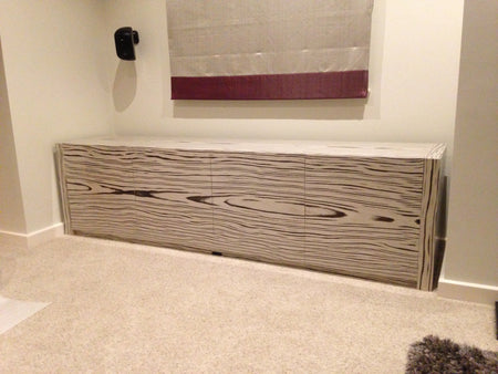 Extra Large AV Cabinet in patterned wood by Audinni