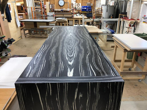 Large AV Cabinet in wood, with view of top of cabinet