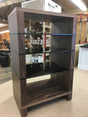 Hi Fi Stand by Audinni in Walnut wood finish and glass shelves
