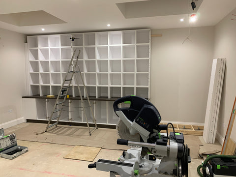 Vinyl Storage  Unit on the wall during building