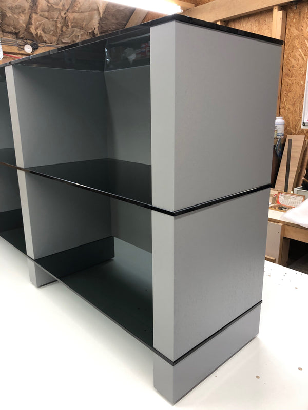 Hi Fi Stand AV Furniture piece in grey finish with glass shelves