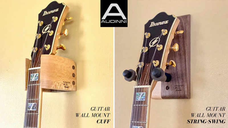 Audinni Guitar Wall Mounts in natural hardwood