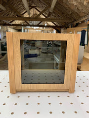 Aveos Cube AV Cabinet by Audinni in Natural Oak and centre glass door