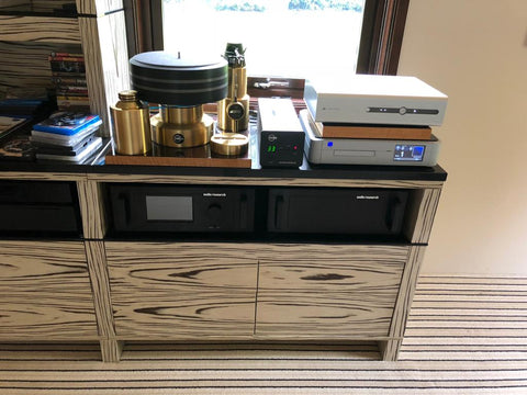 AV Unit for audio visual equipment and music players, made bespoke in Siberian Tiger wood finish