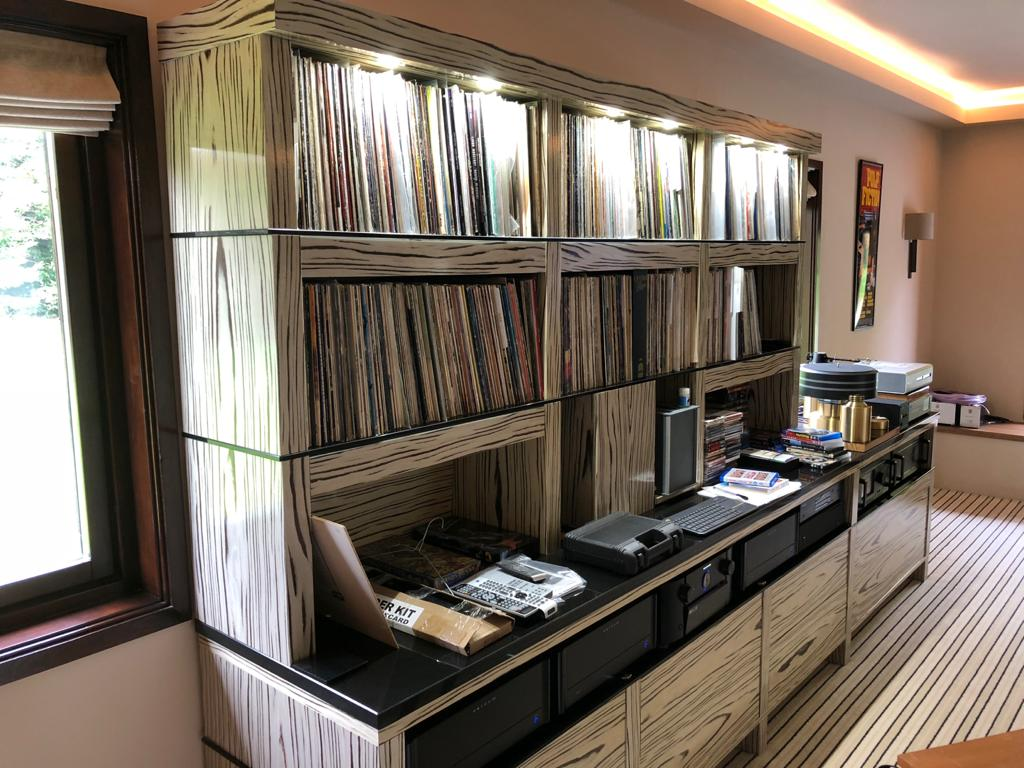 Home Cinema AV Unit in Siberbian Tiger wood for record and music collection