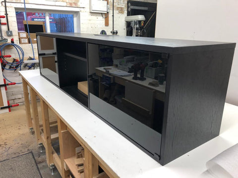 Large AV Cabinet with three compartments, with three doors with privacy glass, handmade in the UK